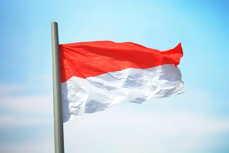 Flag of Monaco against the background of the sky 免版税图像