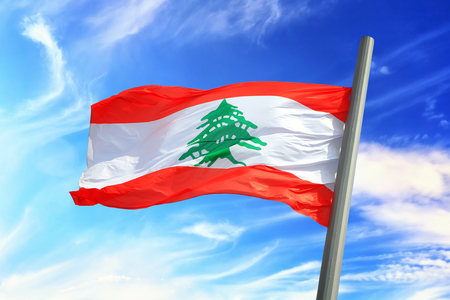 Flag of Lebanon against the background of the sky