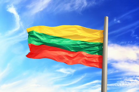 Flag of Lithuania against the background of the sky 免版税图像