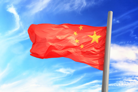 Flag of China against the background of the sky 免版税图像