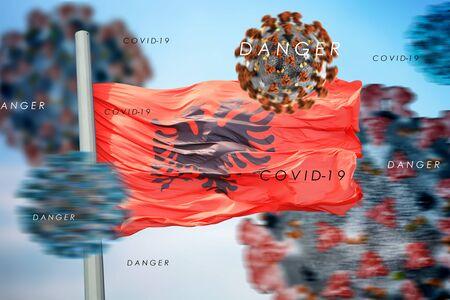 3D collage Albanian flag amid coronavirus