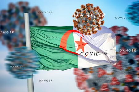 3D collage with the Algerian flag against the background of coronavirus