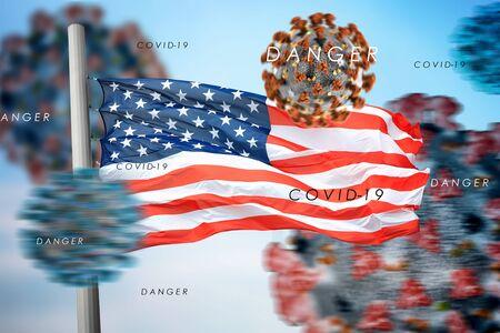 3D collage US flag  amid coronavirus