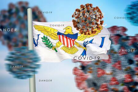 3D collage American Virgin Islands flag  amid coronavirus
