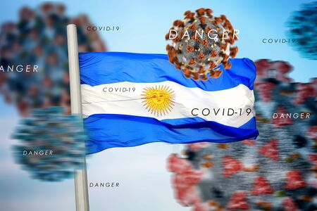 3D collage Argentina flag amid coronavirus
