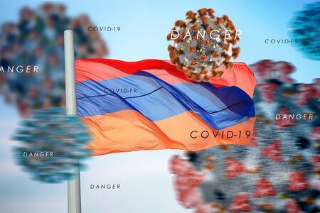 3D collage Armenian flag amid coronavirus