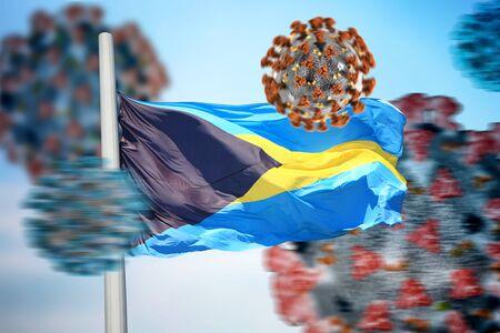 3D collage Bahama flag amid coronavirus 免版税图像