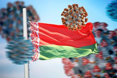 3D collage Belarusian flag amid coronavirus