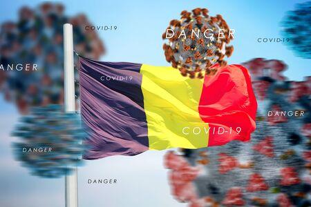 3D collage Belgian flag amid coronavirus
