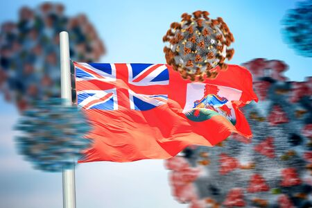3D collage Bermudas flag amid coronavirus