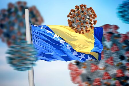 3D collage flag of Bosnia and Herzegovina amid coronavirus