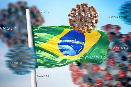 3D collage Brazilian flag amid coronavirus 免版税图像