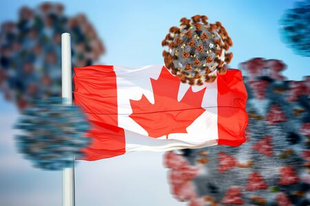 3D collage Canadian flag amid coronavirus