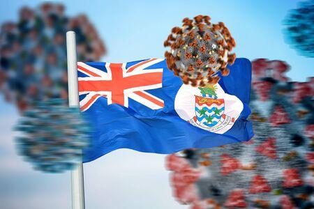 3D collage flag of the Cayman Islands amid coronavirus 免版税图像