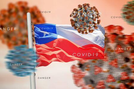 3D collage Chilean flag amid coronavirus