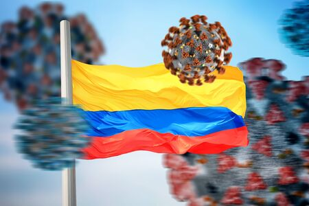 Colombian flag and coronaviruses covid-19 免版税图像