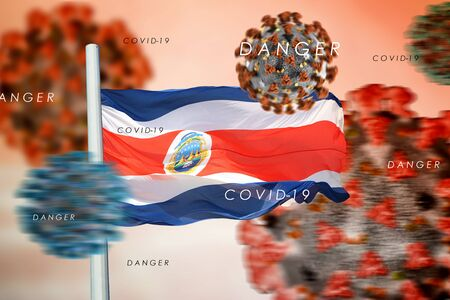 3D collage Costa Rican flag amid coronavirus