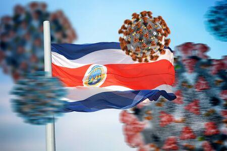 Costa Rican flag and coronaviruses covid-19