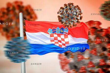 3D collage Croatian flag amid coronavirus 免版税图像