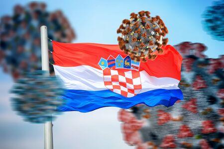 Croatian flag and coronaviruses covid-19