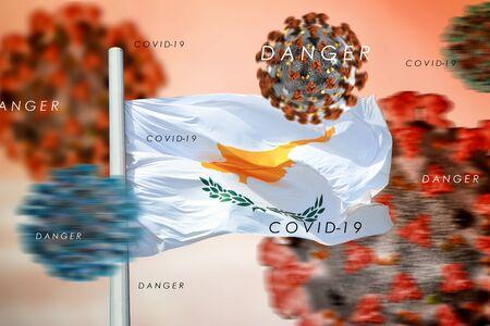 3D collage Cyprus flag amid coronavirus
