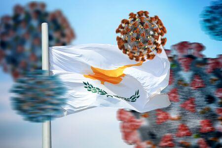 Cyprus flag and coronaviruses covid-19