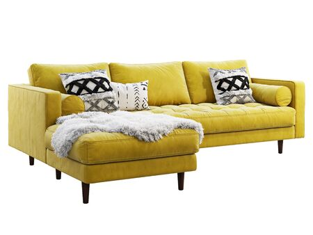 Scandinavian corner fabric sofa. Velvet upholstery chaise lounge sofa with pillows and pelt on white background. Mid-century, Loft, Chalet, Scandinavian interior. 3d render