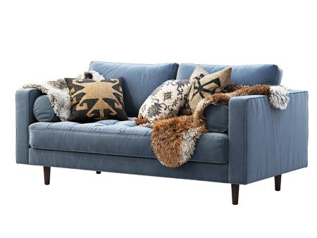 Chalet two-seat fabric sofa. Velvet upholstery two-seat sofa with pillows and pelts on white background. Mid-century, Loft, Chalet, Scandinavian interior. 3d render