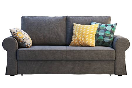 Modern dark gray fabric sofa with colored pillows on white background. Scandinavian interior. 3d render Stock Photo