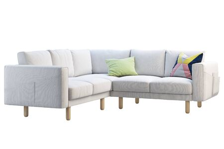 Modern white fabric corner sofa with colored pillows on white background. Scandinavian interior. 3d render Stock Photo
