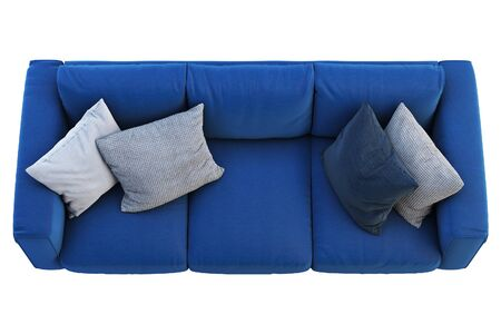 Modern dark blue fabric sofa with colored pillows on white background. Scandinavian interior. 3d render