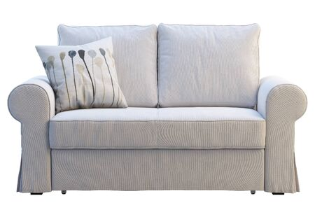 Modern white fabric sofa with pillows on white background. Scandinavian interior. 3d render