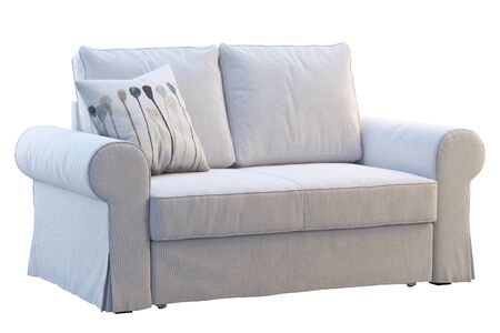 Moderne witte stoffenbank met kussens op witte achtergrond. Scandinavisch interieur. 3D render Stockfoto