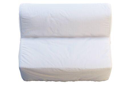 Sofá cama plegable escandinavo en estado plegado. Sofá tapizado textil blanco sobre fondo blanco. Interior escandinavo. Render 3d