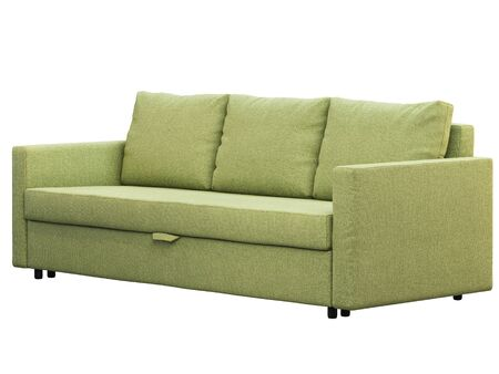 Modern green fabric sofa. Textile upholstery three-seat sofa with on white background. Scandinavian interior. 3d render