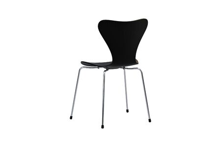 Modern wooden chair with metal legs on white background. 3d render