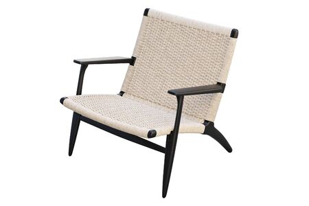 Black wooden chair with wicker seat on white background. Mid-century wooden frame chair. 3d render