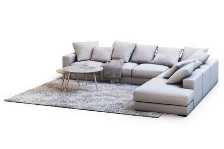 Nowoczesny zestaw mebli z kanapą, dywanem i stolikami kawowymi na białym tle z cieniami. Dywan z długim włosiem. Styl skandynawski. Nowoczesny styl. Tapicerka z kremowej tkaniny. renderowania 3D