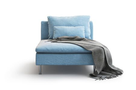 Modern blue textile chaise longue with pillows and plaid on white background with shadows. Scandinavian style. Modern style. Blue fabric upholstery. 3d render Stock Photo