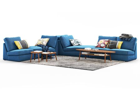 Modern furniture set with sofa, rug and coffee tables on white background with shadows. Scandinavian style. Modern style. Dark blue fabric upholstery. 3d render Banque d'images