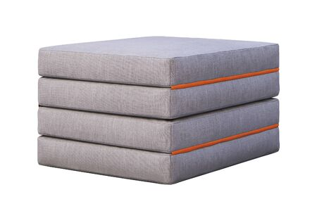 Easy to fold up fabric mattress seat section on white background. 3d render