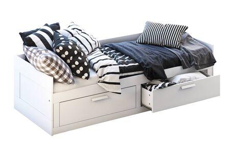 3d render of white children's bed with storage on white background. Scandinavian interior. Bedding set