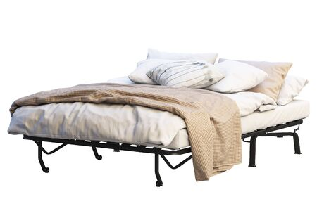 Minimalistic folding double bed with linen on white background. Black metal frame. Pillows, blanket and bedspread. 3d render