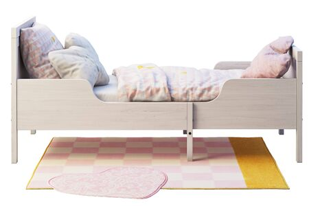 3d render of white wood pull-out children's bed with rug on white background. Scandinavian interior. Bedding set