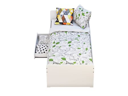 3d render of white single childrens bed with storage on white background. Scandinavian interior. Bedding set