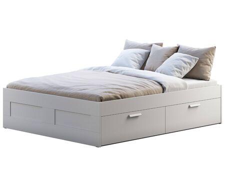 Render 3D de cama doble blanca con ropa de cama y almacenamiento sobre fondo blanco. Interior escandinavo. Juego de cama