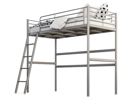 Scandinavian children's metal frame bed with white linen on white background. Gray metal frame, stairs, two-level. 3d render