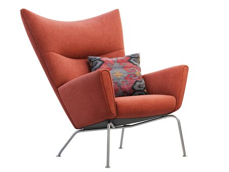 Mid-century red fabric wing chair. Fabric upholstery armchair with metal legs and pillow on white background. Mid-century, Loft, Scandinavian interior. 3d render