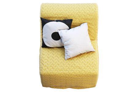 Silla cama escandinava plegable en estado plegado. Silla de tapicería textil amarilla con almohadas de colores sobre fondo blanco. Interior escandinavo. Render 3d