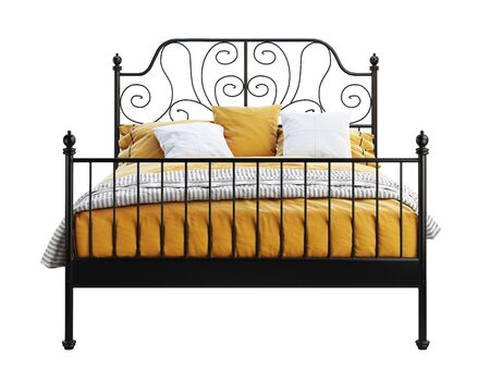 Scandinavian double metal frame bed with orange linen on white background. Black metal frame, curved headboard. 3d render Stock Photo
